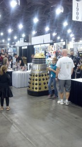 Dalek rolls around the convention floor.