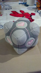 companion cube from portal was a prize in the lounges.