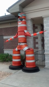 The Road Cone God was spotted at a Missouri rest area. Make offerings to him to ensure your construction project gets completed.