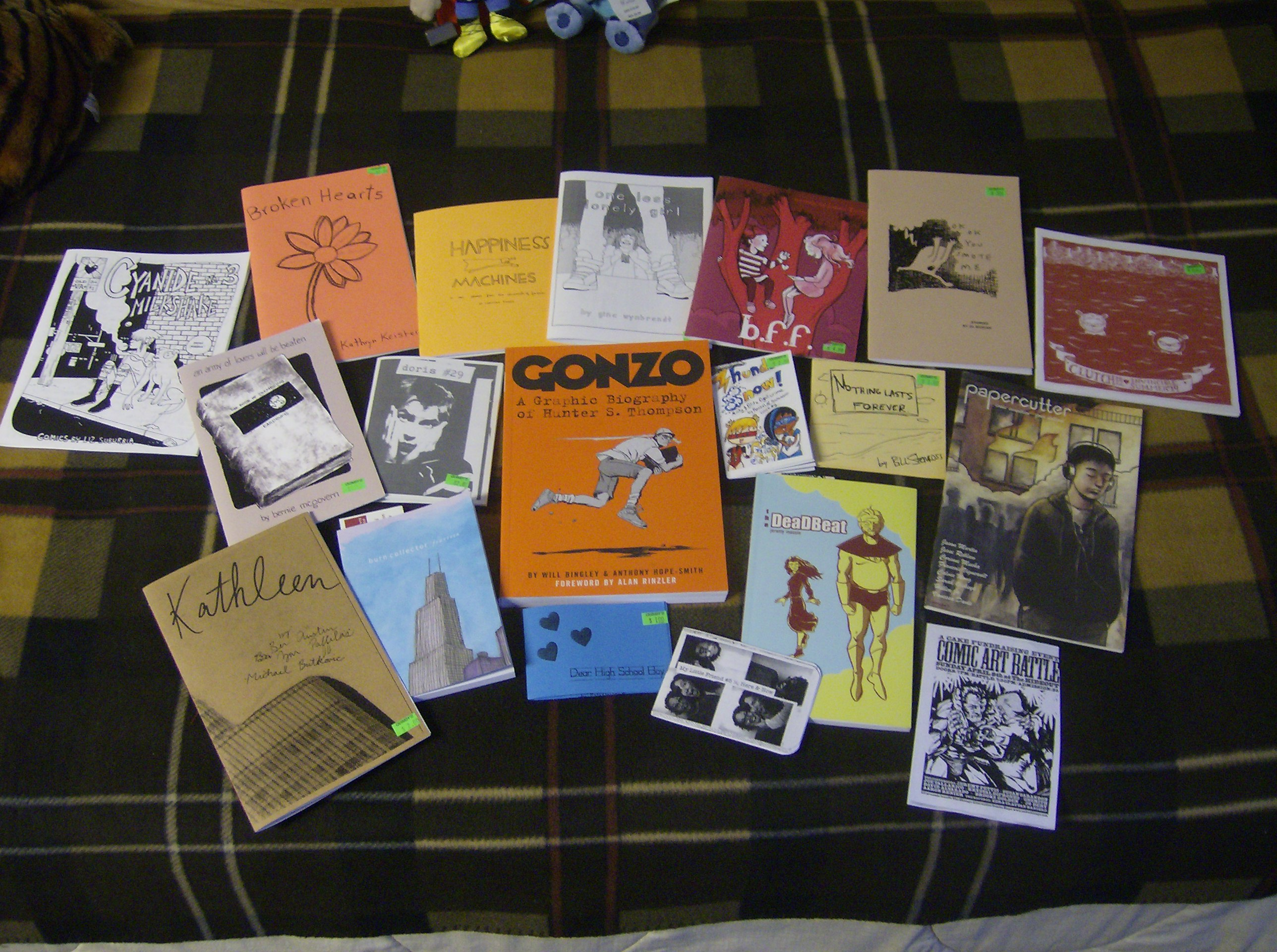 zines and mini comics acquired from Quimby's bookstore in Chicago