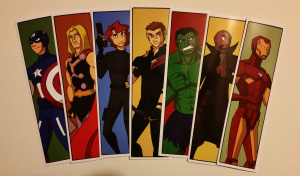avengers assemble in bookmark form, available for sale
