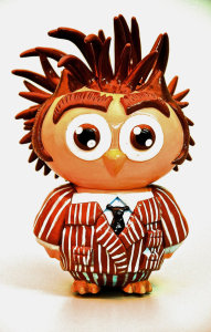 doctor who owl toy in vinyl and sculpey by kelsey wailes