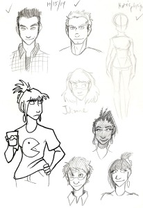 character sketches from seeing him the trans man webcomic