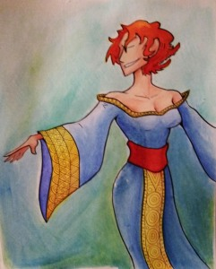goddess watercolor sketch painting