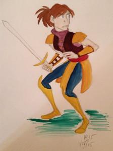 watercolor warrior sketch