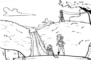 claire and tracy comic work in progress art sketch of environment