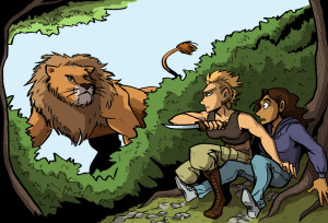 claire and tracy encounter the lion illustration