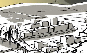 city scape drawing