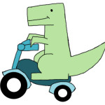 mr dino on a bike