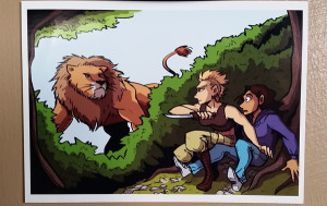 claire and tracy encounter lion mini-print