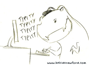 t-rex typing at computer