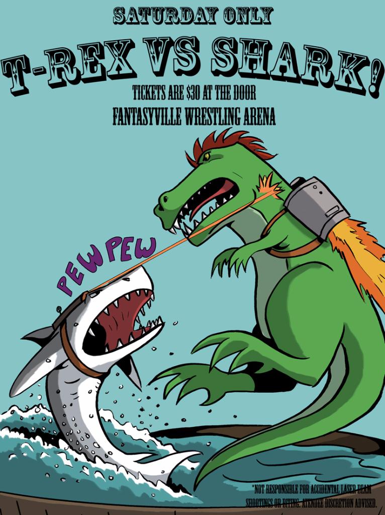 t rex versus shark