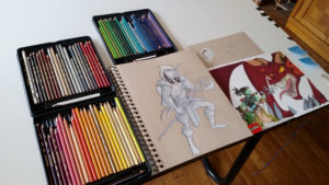 colored pencil art and illustration set up