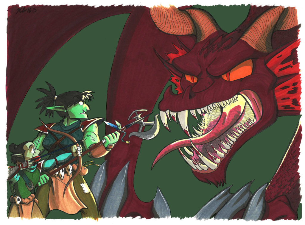 dungeons and dragons illustration mama fern and burnt versus dragon