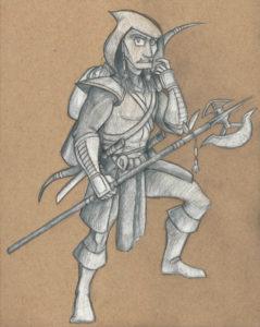 colored pencil fantasy illustration in progress