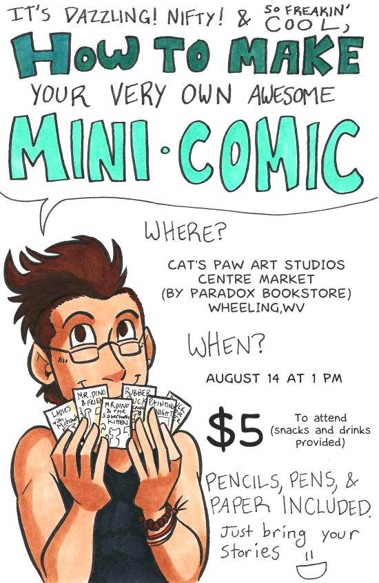 how to make a mini comic workshop flyer