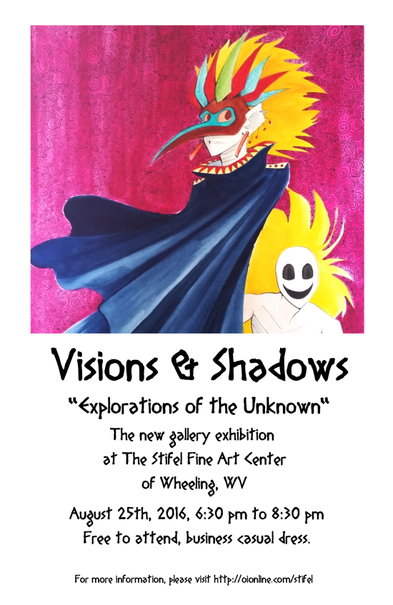 visions and shadows art gallery show flyer