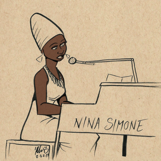 black history month nina simone sketch