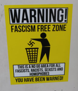 fascism free zone sticker label