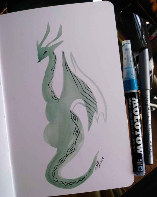 lady dragon watercolor marker sketch for inktober 2019