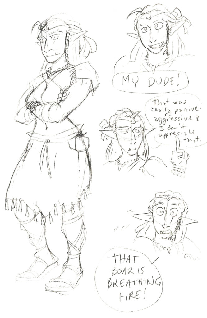 ollie the half orc druid dungeons and dragons 5th edition character sketch