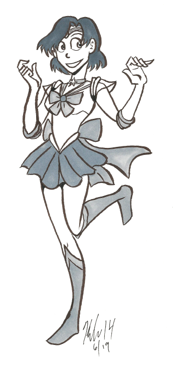 sailor mercury fanart sketch made with brush pen and copic marker