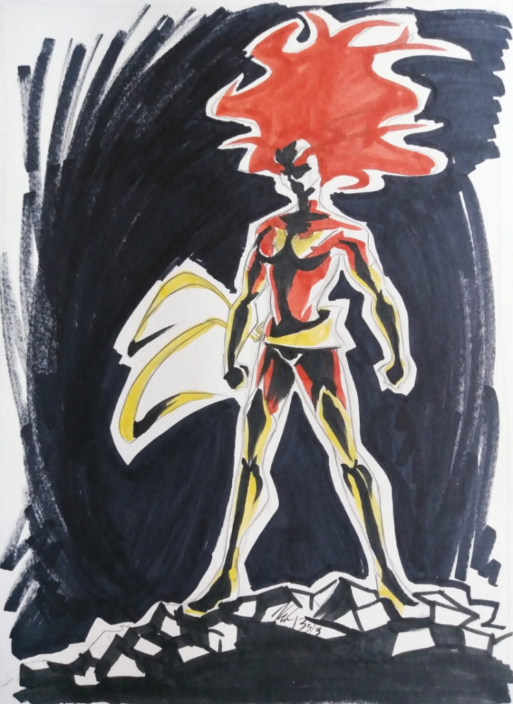 x-men phoenix marker and ink sketch from 2013