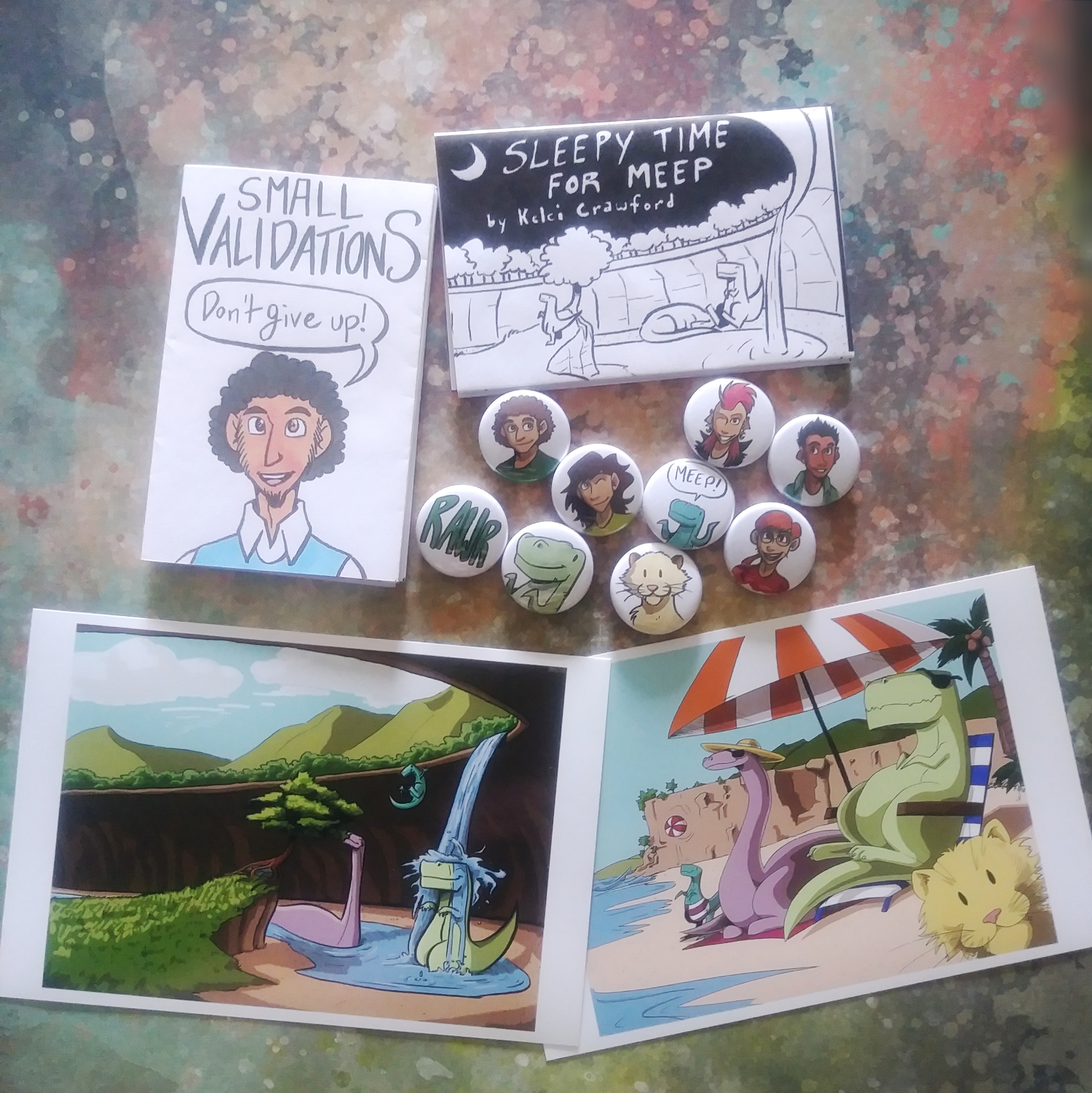 the validation and mr dino bundle on storenvy, featuring two zines, two button sets, and two miniprints.