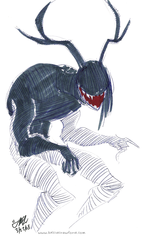 monster madness horror sketch art, showing an eyeless, hunched-over, horned monster with a large grin laughing and pointing.