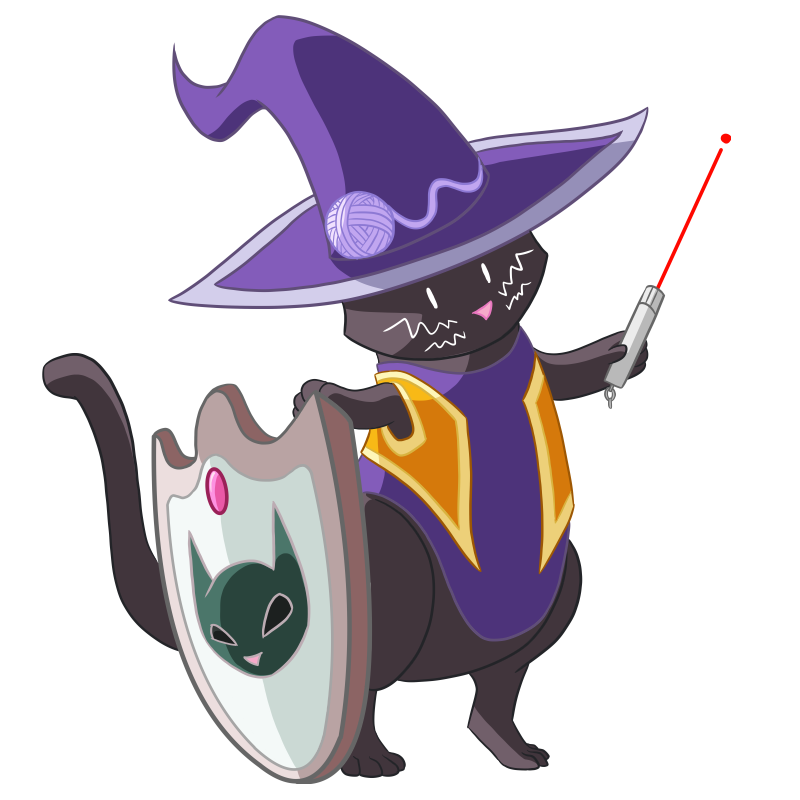 a black cat stands on hind legs, holding a shield and wielding a laser pointer like a wand. The cat wears a wizard hat embroidered with a ball of yarn rolling around the base. The cat also wears a purple tunic and gold vest. The shield has a dark green cat face and a red gem on the front.