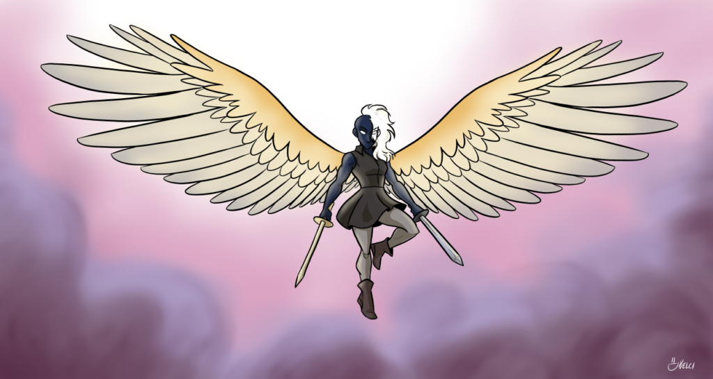 an image of a modern-day Valkyrie flying in the air. Their skin is dark, hair white, wings gold and silver, and they wield two swords. The clouds part behind them and divine light shines upon them.
