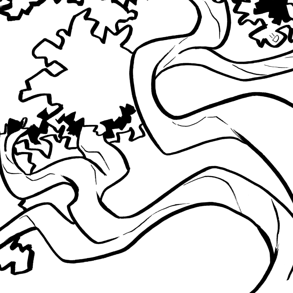 an ink drawing of a tree's twisting branches