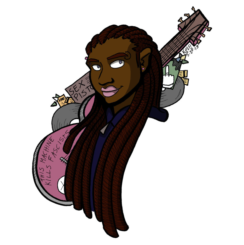 """2015 character design featuring a black punk girl in dreadlocks, drawn in portrait with a pink guitar and punk records in the background for flair. The guitar says """"THIS MACHINE KILLS FASCISTS."""""""