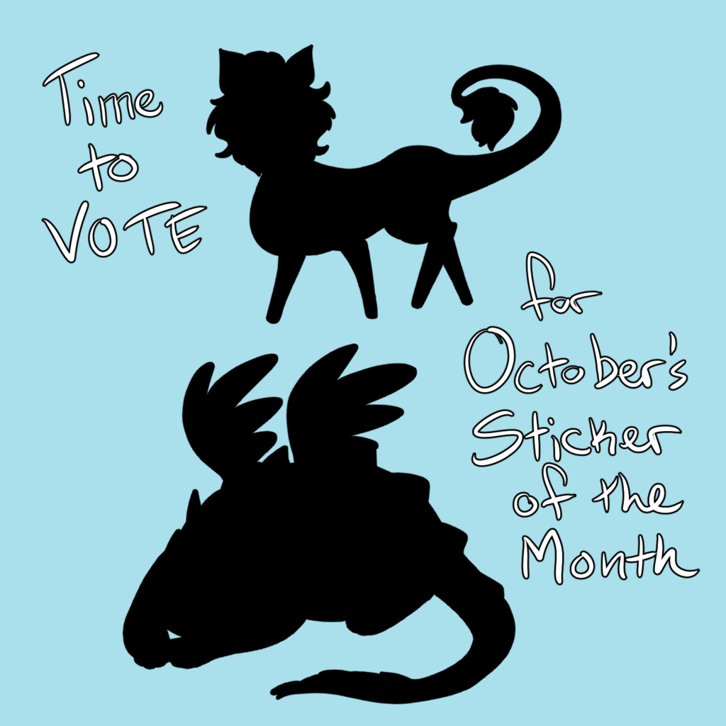 time to vote for October's sticker of the month! Two options are presented in black silhouette.
