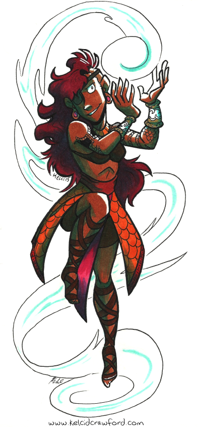the water mage, a woman hovering in the air, containing wild water energy in her hands. The water cascades around her body. She wears an eyepatch, gauntlets, and fish-scale skirts with leather strap boots.