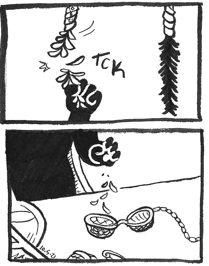 Inktober 2021 comics by kelci d crawford panels 6 and 7